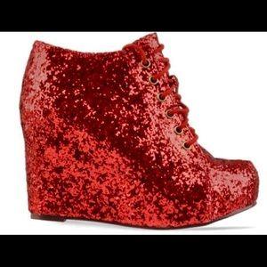 Jeffrey Campbell 99 tie red glitter wedge booties!